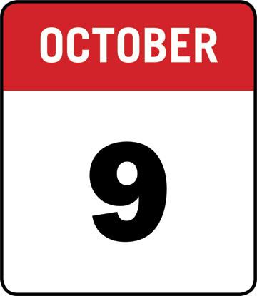 Calendar: October 9